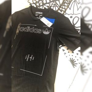 NWT! Men's Black White Adidas Tee T Shirt SZ Small